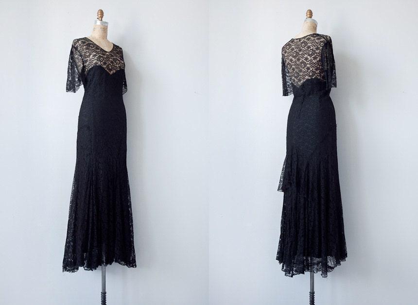 vintage 1930s dress / vintage 1930s black lace by adoredvintage