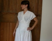 Reserved for Yoko! Under the hot sun, White linen Sun dress with cut out floral design size M
