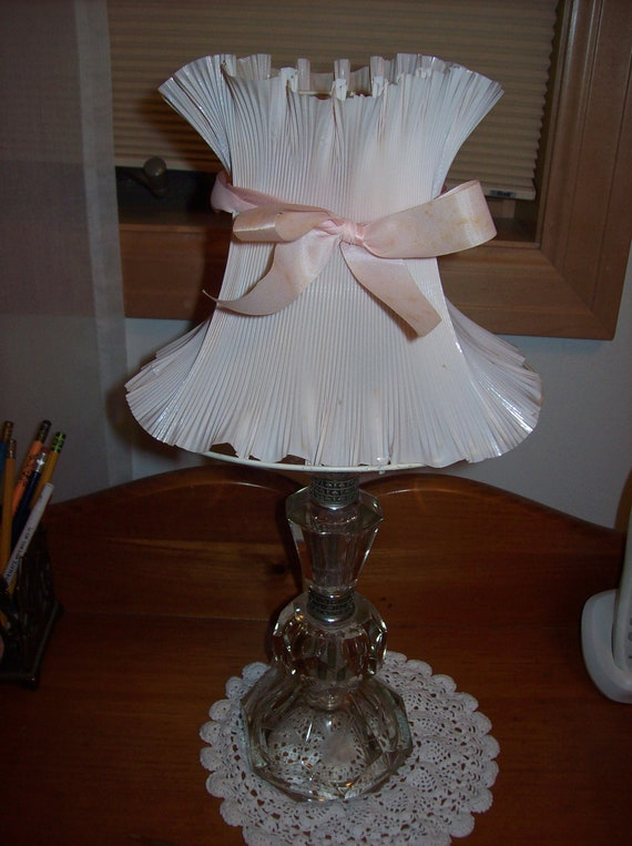 Vintage Lamp Shade Pink Plastic Paper on Metal Form