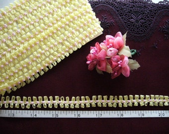 Ribbon trim, petite trim, pink trim, yellow trim, doll trim,  4 yards NT113