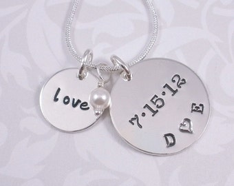 Wedding Charm Hand Stamped Necklace