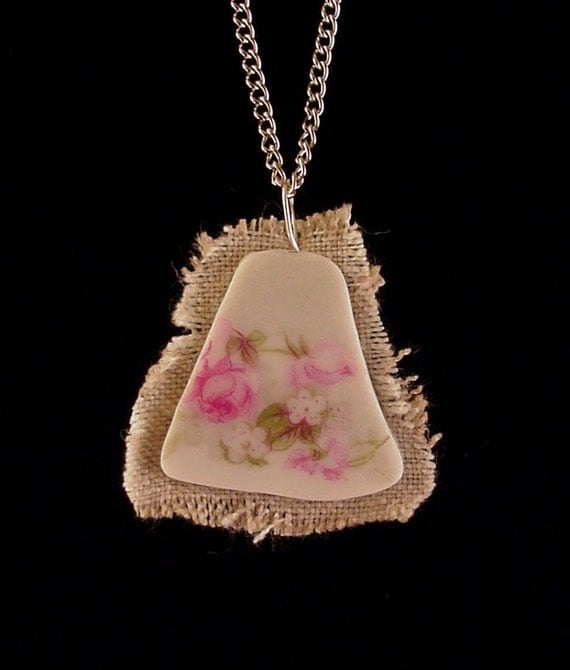 Broken china jewelry shard and linen pendant necklace pink roses