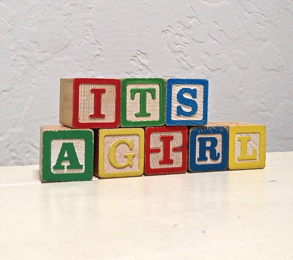vintage wooden blocks - it's a girl