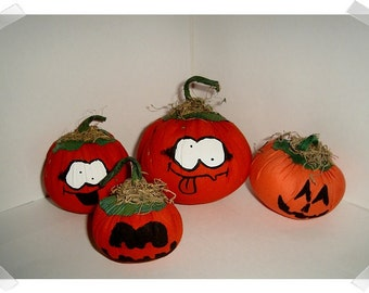 Halloween Pumpkins/ Set of 4 /Holiday Decor/ Handmade*