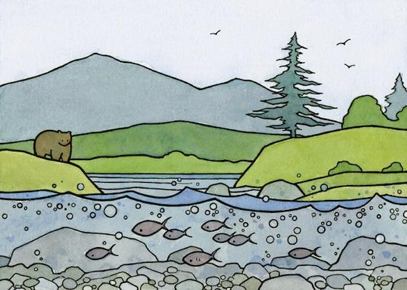 Salmon and Bear Illustration Print 5x7