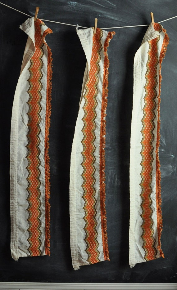 Vintage 1970's  Rustic Curtains In Orange Brown and off White 3 panels