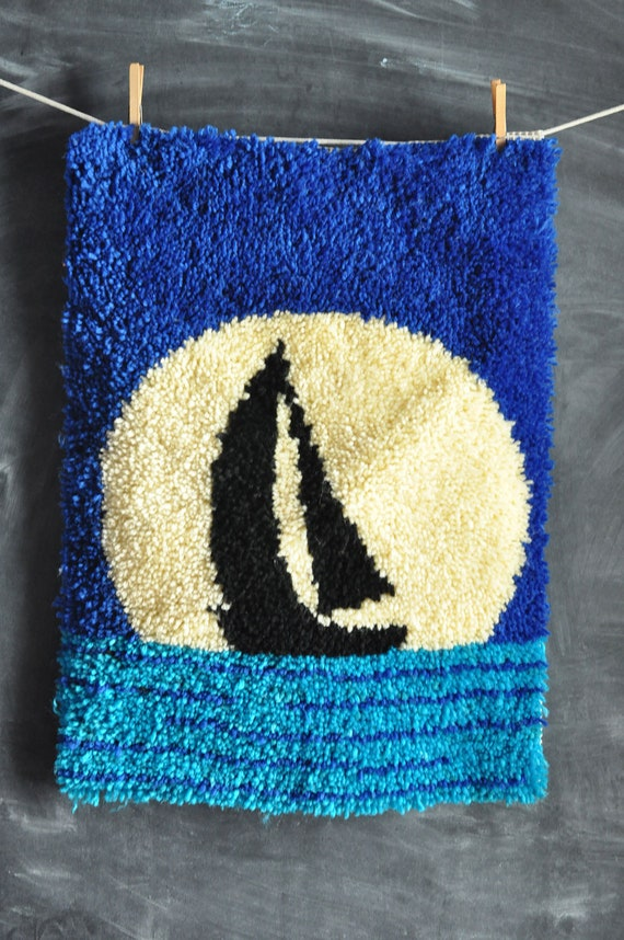 Vintage Handmade Latch Hook Rug Sailboat Moonscape Wall