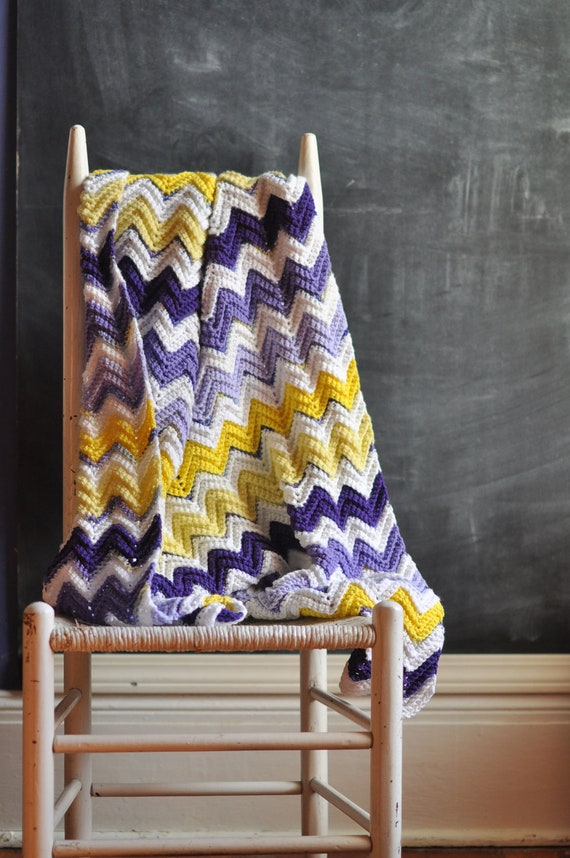 Vintage Afghan Blanket Purple and Yellow  Zig Zag Chevron Stripes