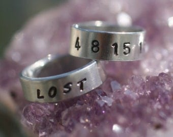 "LOST NUMBERS- ""4 8 15 16 23 42"" & LOST - 2 Hand-Stamped Aluminum Rings - Free Shipping"