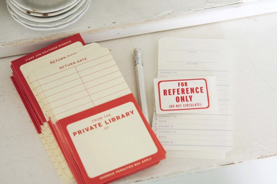 For Your Private Library- Library Check out Cards- Reference Cards- Set of 22