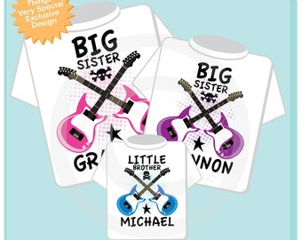 Set of Three Personalized Big Sister, Big Sister and Little Brother Guitar Rocker Shirt or Onesie, Infant, Toddler or Youth sizes t-shirt