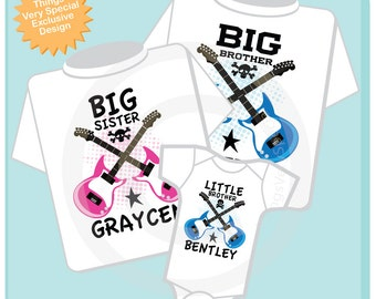 Set of Three Personalized Big Brother, Big Sister and Little Brother Guitar Rocker Shirt or Onesie, Infant, Toddler or Youth sizes t-shirt