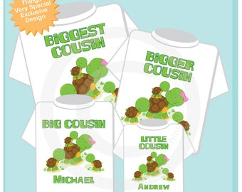 Sibling Turtle Shirt Set, Set of Four, Biggest Cousin Shirt, Bigger Cousin. Big Cousin, and Little Cousin,  Personalized Shirt or Onesie