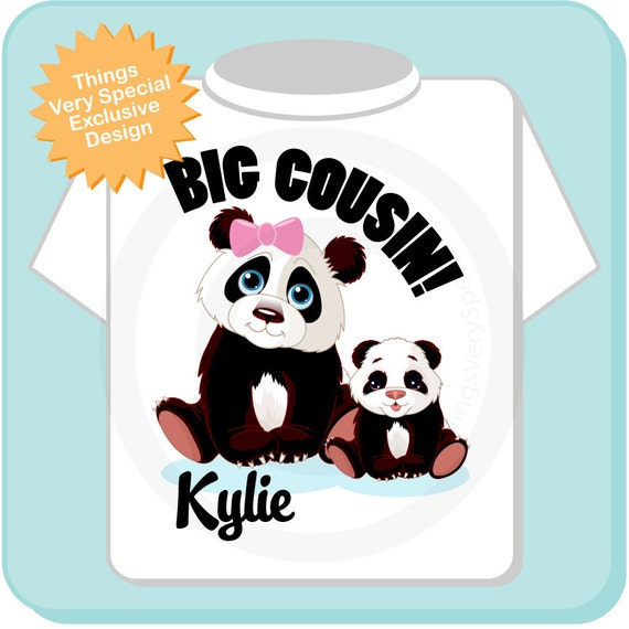 Big Cousin Shirt, Big Cousin Onesie, Personalized Big Cousin Shirt, Panda Bear Shirt with Unknown Sex Baby (03232015a)