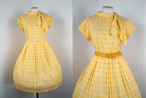 1950s Dress - Vintage 50s Cotton Rockabilly Day Dress Yellow Plaid Ascot Deadstock XL  - Sunnyside Up