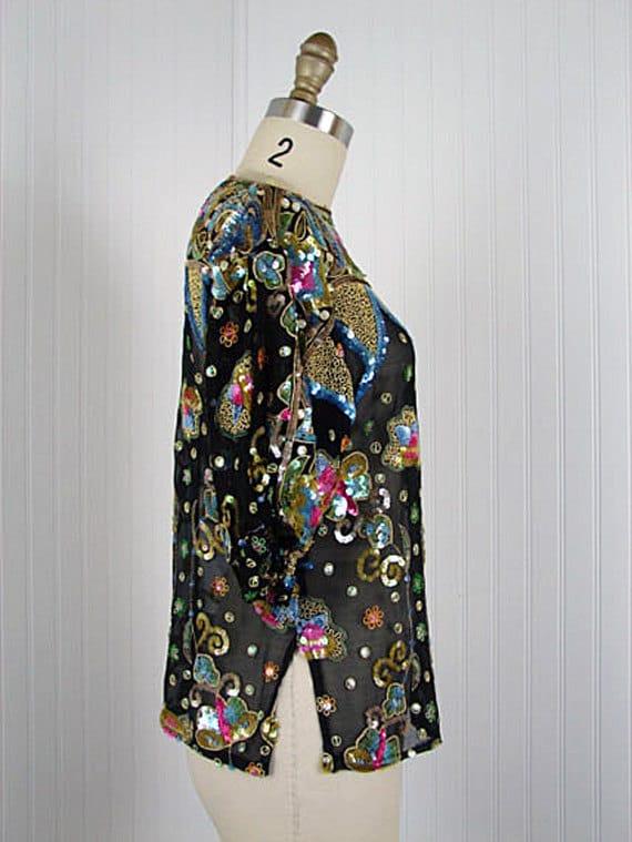 1980s Silk Deco Top - Vintage 80s Black Pink Art Deco Sequin Designer Saks Fifth Avenue Flapper Top - Absinthe and Lilies