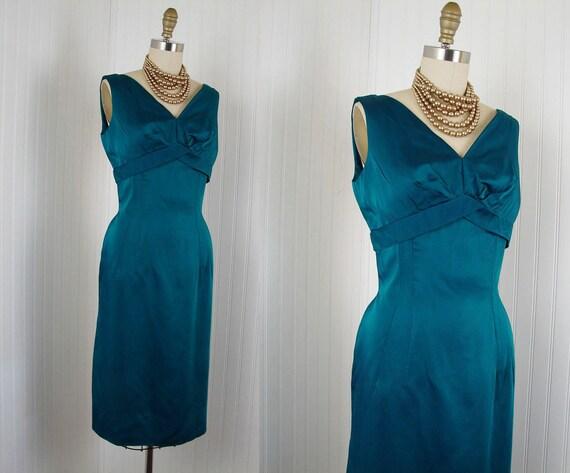 1950s Dress - VERDIGRIS Vintage 50s Couture Silk Satin Emerald Green Bust Shelf Draped Cocktail Party Dress