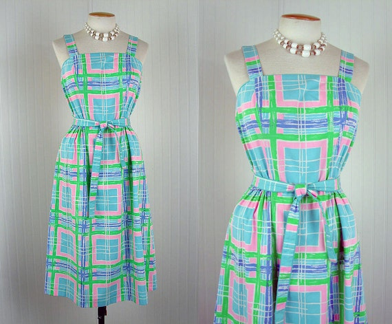 1970s Dress - 70s Dress Mod Preppy Cute Pastel Geometric Cotton Print Halter Sundress M - Graphic Novella