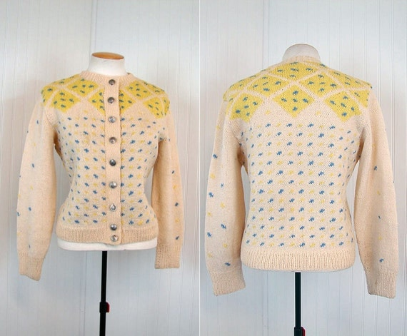 R E S E R V E D 1940s Sweater SEA SHANTY Vintage 40s Yellow and Blue Hand Knit Wool Cardigan w Nautical Ship Buttons