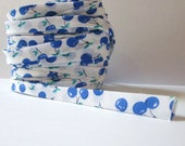 "Handmade Bias Binding Tape 24mm / 1"" Double Fold BLUE CHERRIES"