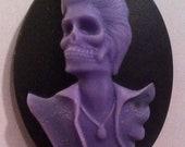Dead Rocker Cameos 40x30mm, set of 3 Lavender on Black