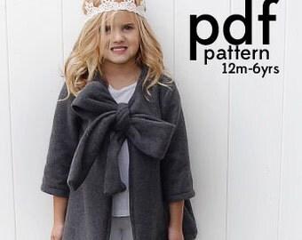 the ZERMATT fleece swing coat PDF PATTERN 12m-6