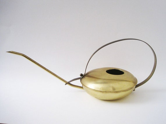 Vintage Modernist Brass Watering Can