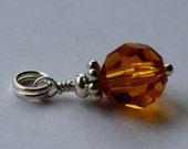 Birthstone Charm Dangle-November Topaz Charm-Round Swarovski Crystal-Sterling Silver-Small Bracelet Necklace Charm-Short-Split Ring-Birthday