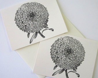 Aster Mum Flower Note Cards Stationery Set of 10 Cards