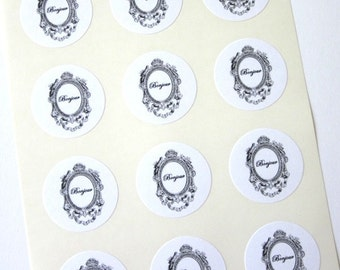 Bonjour Stickers One Inch Round Seals