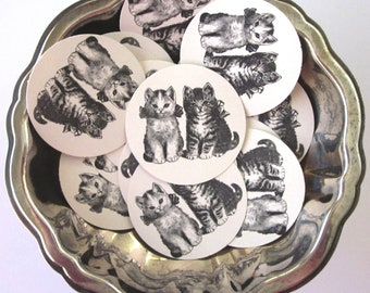 Kittens Cats Tags Round Paper Gift Tags Set of 10