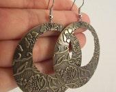 Large Floral Antiqued Brass Earrings, Textured Earrings, Brass Medallion