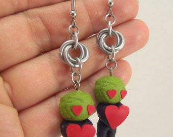 Zombie Love Earrings, Clay and Aluminum Chainmail Earrings