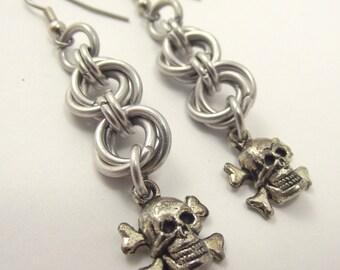 Mobius Skull and Crossbones Earrings, Chainmail Earrings, Aluminum Earrings
