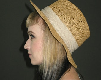 Vintag Straw Hat with Beige Ribbon, Harvard Custom Tailored, 1970s