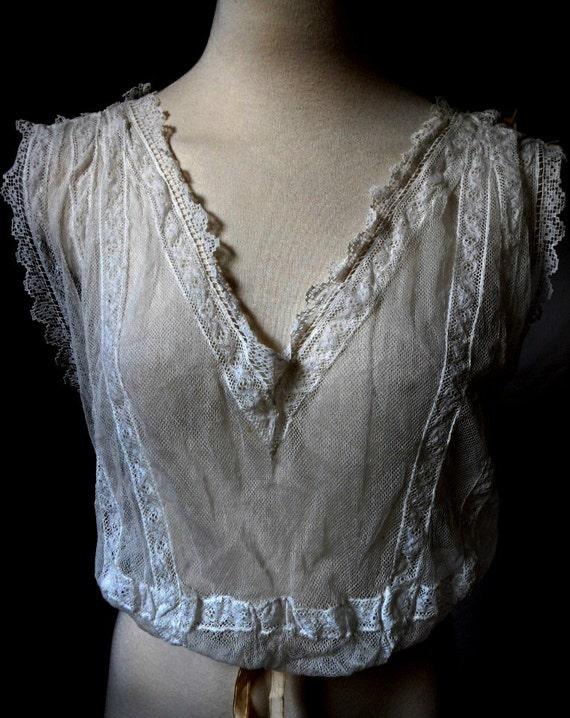CLOSING SALE Antique Edwardian blouse, camisole lace lingerie wedding