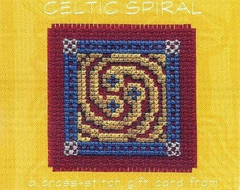 Celtic Spiral Cross Stitch Gift Card Kit from Textile Heritage. Counted Cross Stitch Kit.