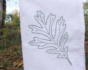 Oak leaf tea towel- hand stitched