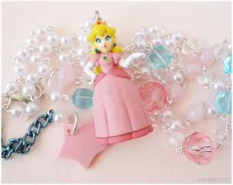 Princess Peach Necklace, Beaded White Pearl Chain with Figure Pendant in Silver - Gamer, Super Mario