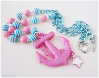 Pink Anchor Necklace, Baby Blue and Pink Beaded Chain  - Oshare Kei, Nautical