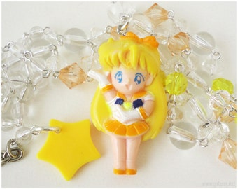 Sailor Venus Necklace, Beaded Transparent Yellow and Orange Chain with Figure Pendant - Anime, Sailor Moon