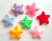 100 pcs -  Cute Felt Star Padded Appliques - mix color - size 25 mm