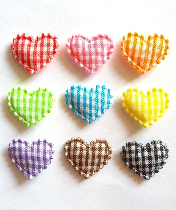 100 pcs - Gingham Heart LOVE Padded Appliques - Mix color - size 20mm x 15 mm