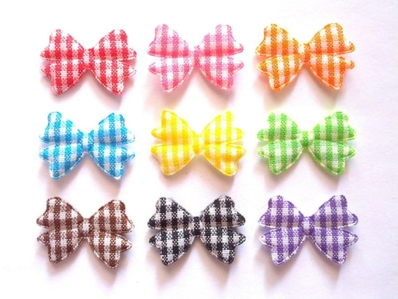 100 pcs - Gingham Bow Ribbon Padded Appliques Decoration - size 15 x 20 mm