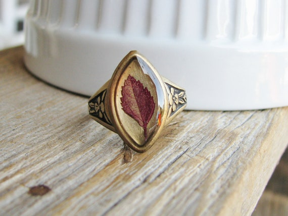 Real Leaf Ring Botanical Jewelry Pressed Spirea Plant Preserved Plants Antique Brass Nature Inspired