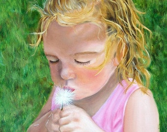 Dandelion, Toddler, Girl, blonde, blow flower,  Giclee of Original Oil Painting, 9x12, summer painting, Stretched Canvas, Helen Eaton