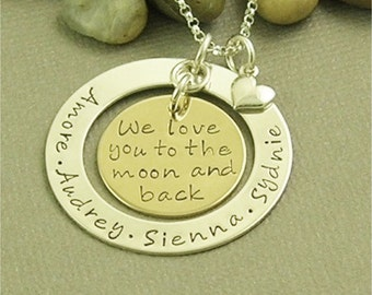 Mom Necklace, We love you to the moon and back, Personalized Jewelry, Hand Stamped Nana Necklace, Grandma Jewelry