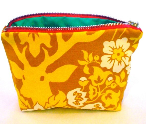 Cosmetic Bag - Flora and Fauna in Tawny and Mustard
