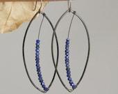 Leafy Steel Dangle Earrings with Blue Lapis Leaf Veins