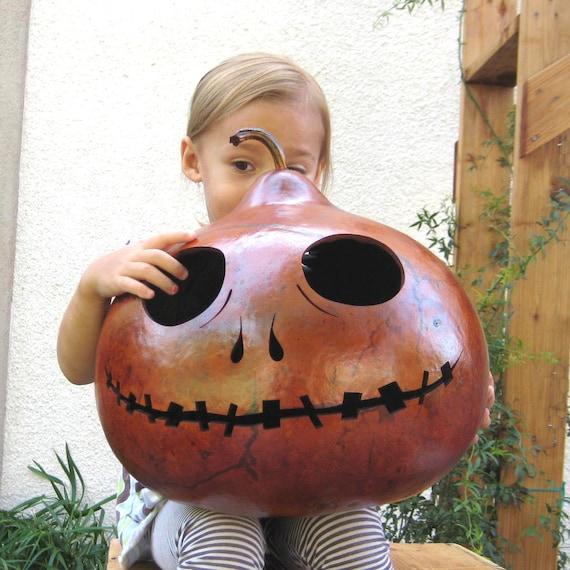Halloween Gourd Jack-O-Lantern XXX Large (inspired by Tim Burton) Jack Skellington Spooky Fall Candy Bowl Decoratiom